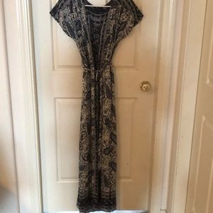 Lucky Brand boho maxi dress tie waist v-neck Sz S